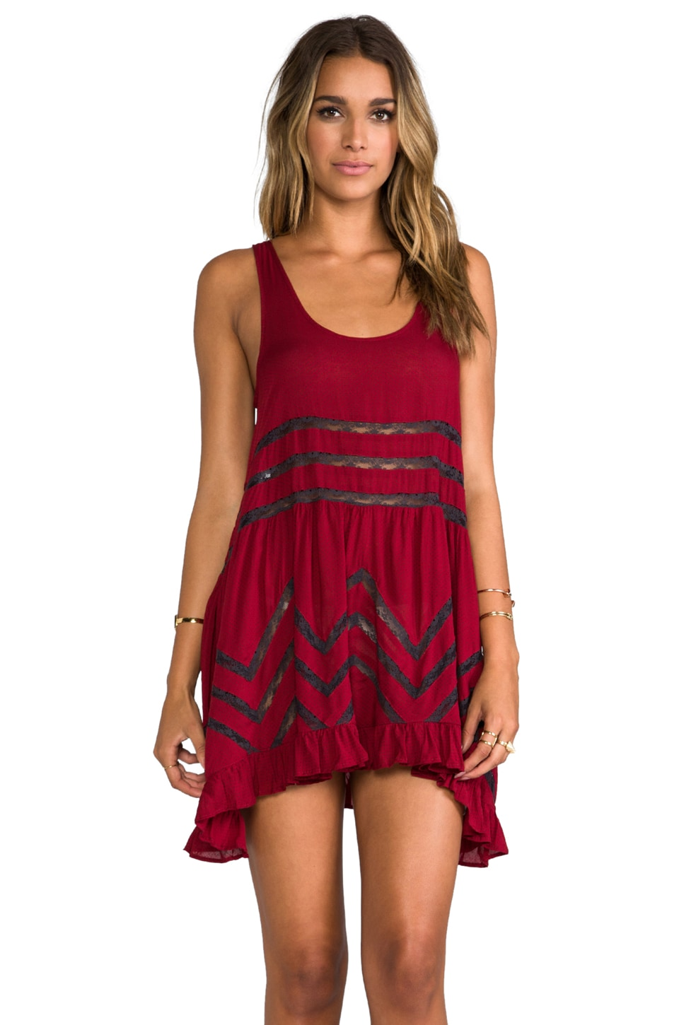 Free People Trapeze Slip Dress in Crimson