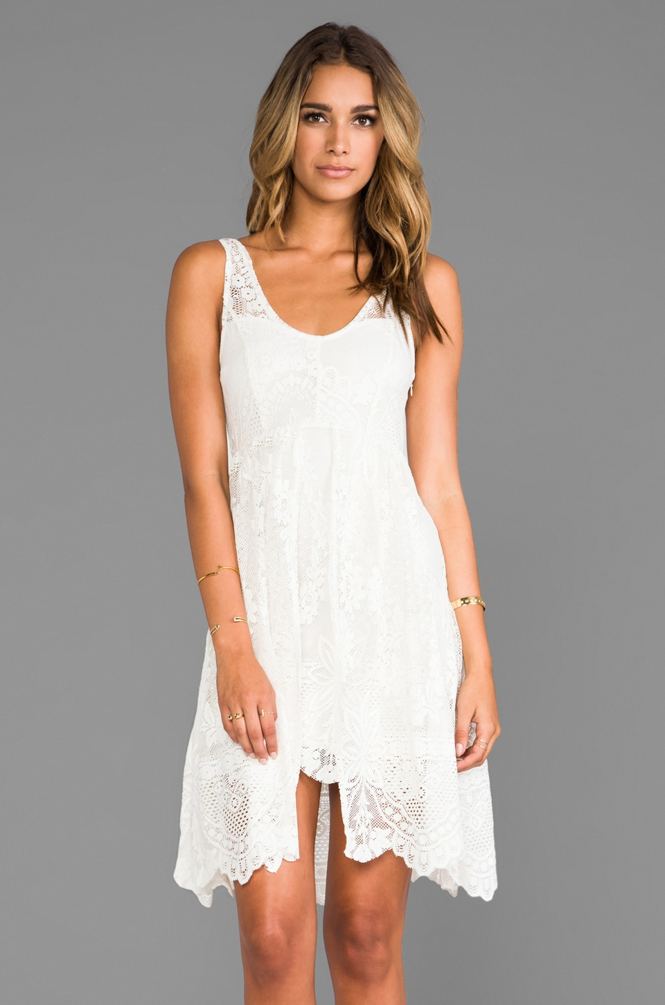 Free People Salinas Foil Print Dress in Ivory