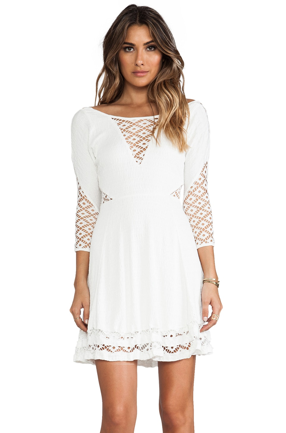 Free People To The Point Mini Dress in Snow