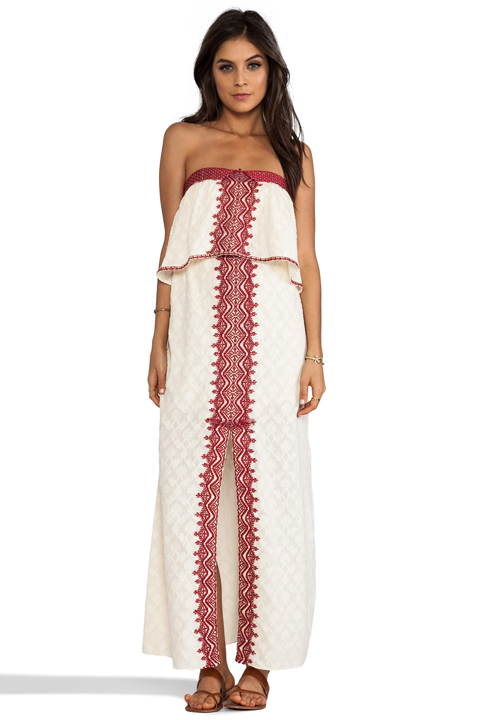 Free People Marrakesh Strapless Embroidered Dress in Eggshell