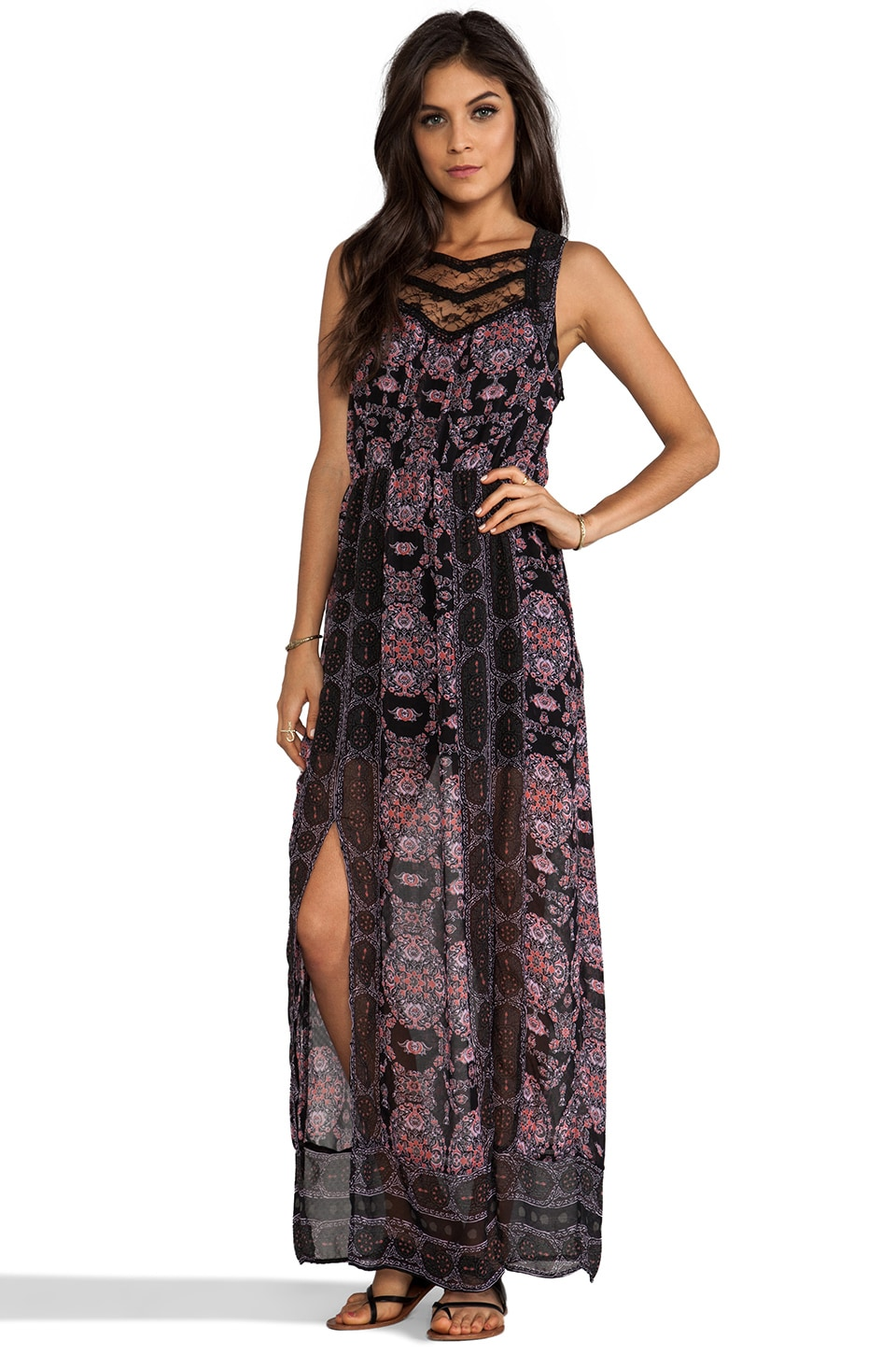 Free People Moroccan Printed Maxi Dress in Black Combo