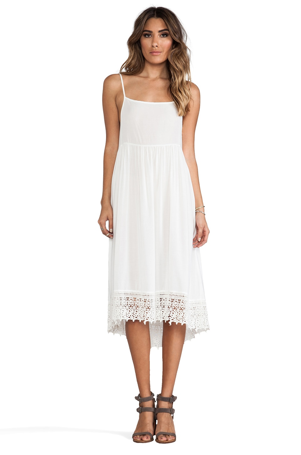 Free People Easy Breezy Crochet Hem Dress in Ivory