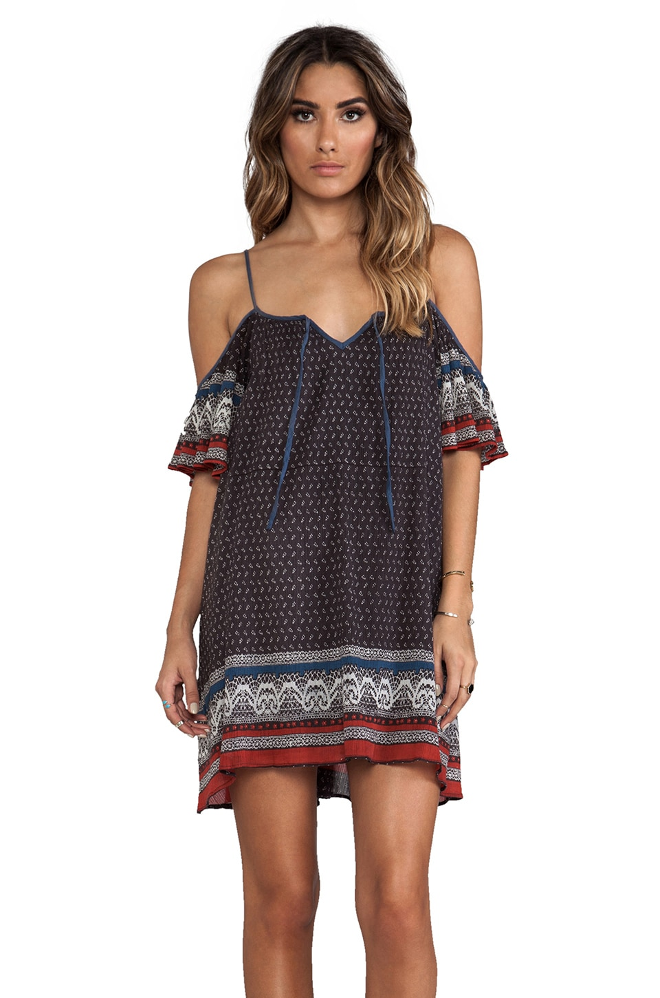 Free People Printed Cold Shoulder Dress in Black Combo