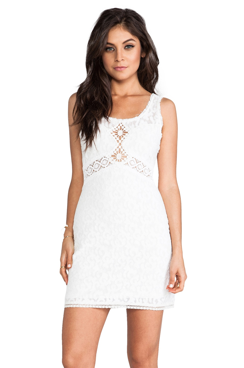 Free People Daisy Chain Shift Dress in White Combo