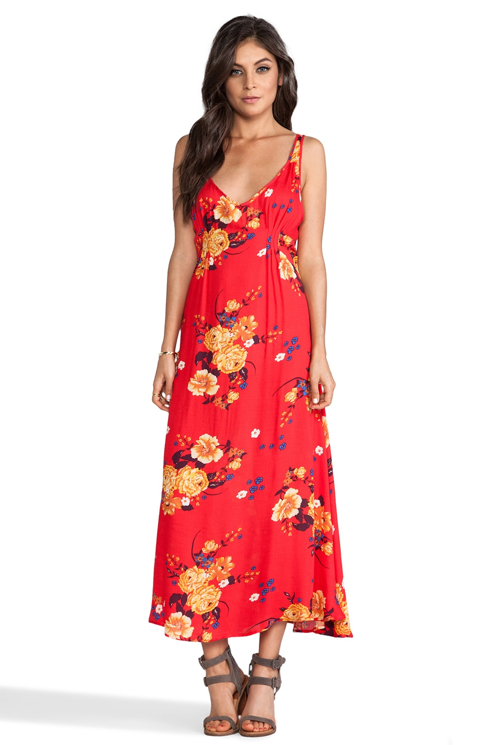 Free People Printed Maxi Slip Dress in Red Combo