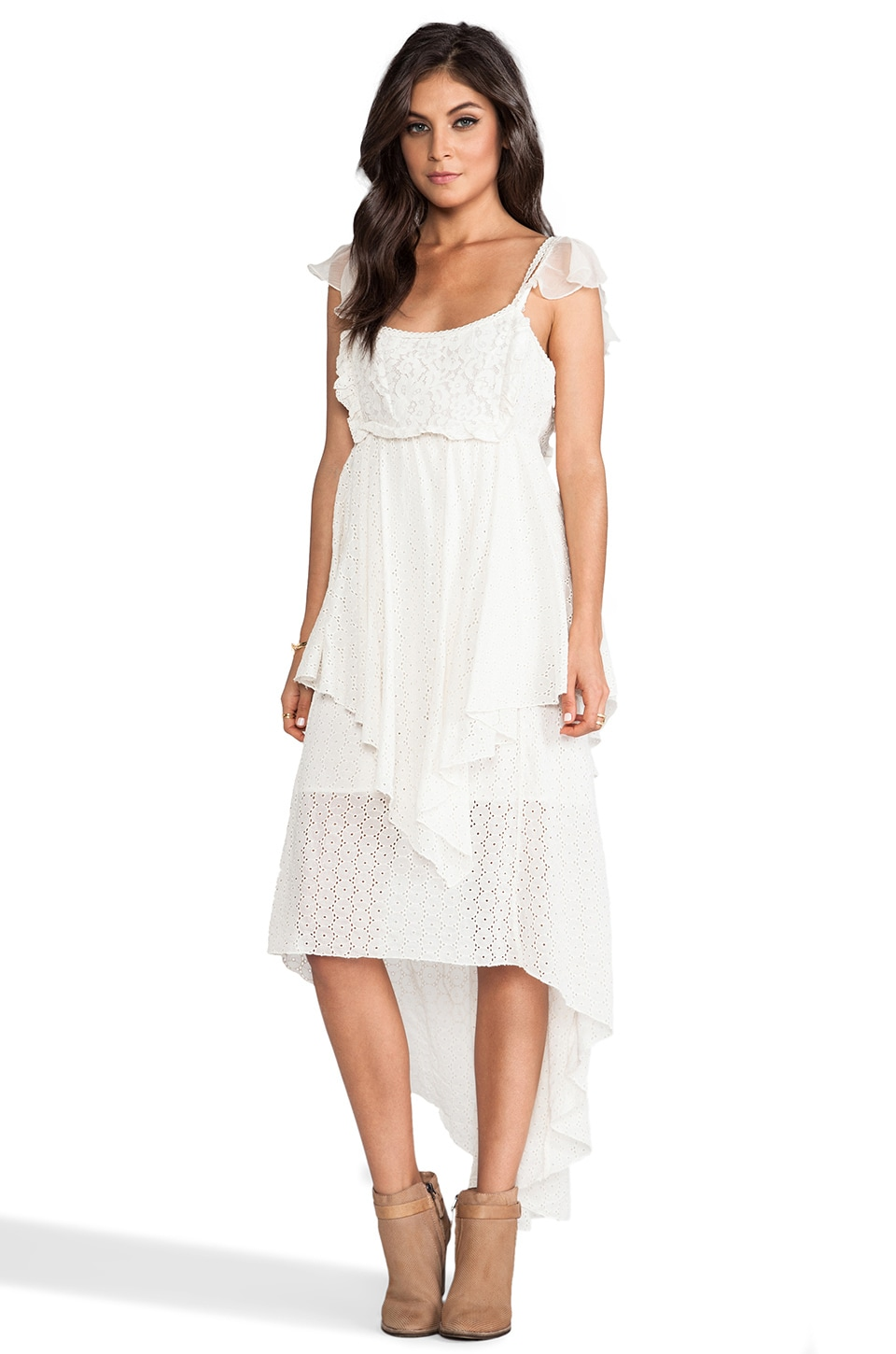 Free People Candle Light Midi Dress in Cream Combo