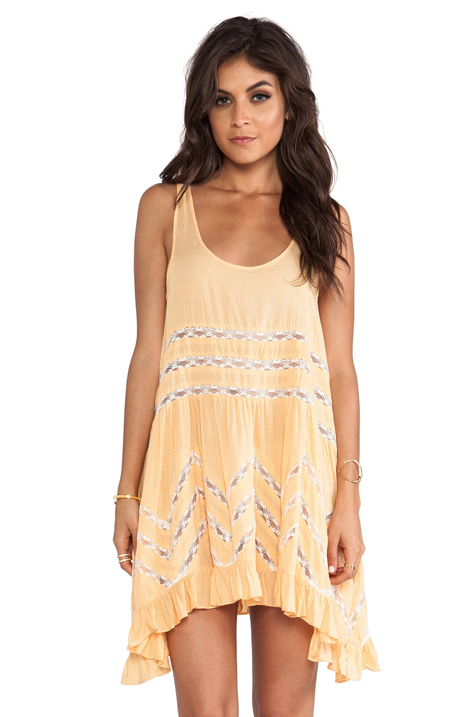 Free People Voile & Lace Trapeze Dress in Tangerine