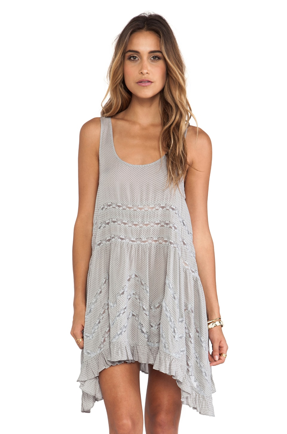 Free People Voile and Lace Trapeze Slip in Concrete Combo