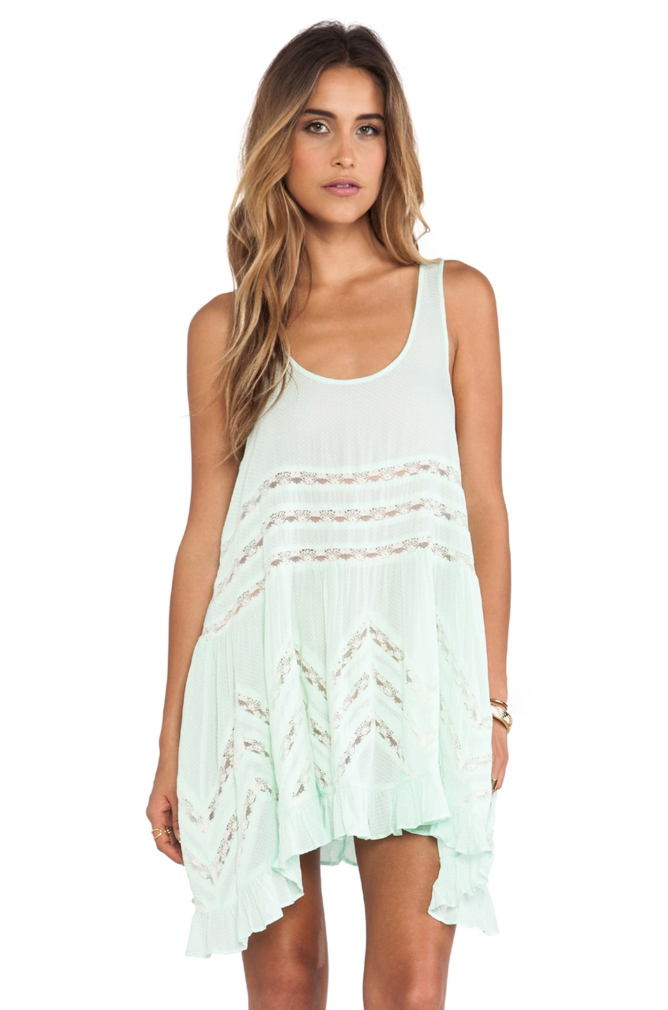 Free People Voile and Lace Trapeze Slip in Spring Green