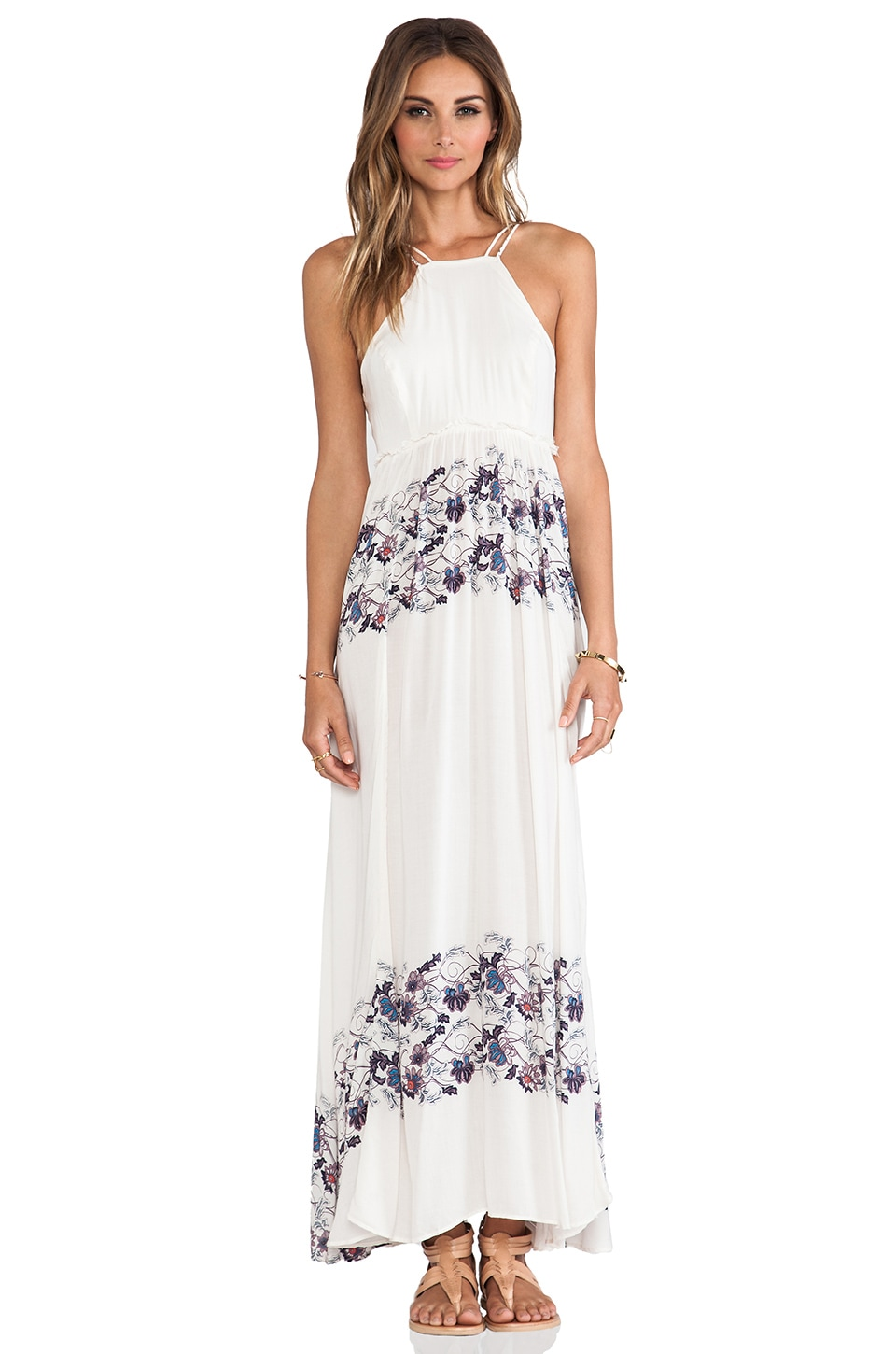 Free People Babydoll Maxi Dress in Cream Combo
