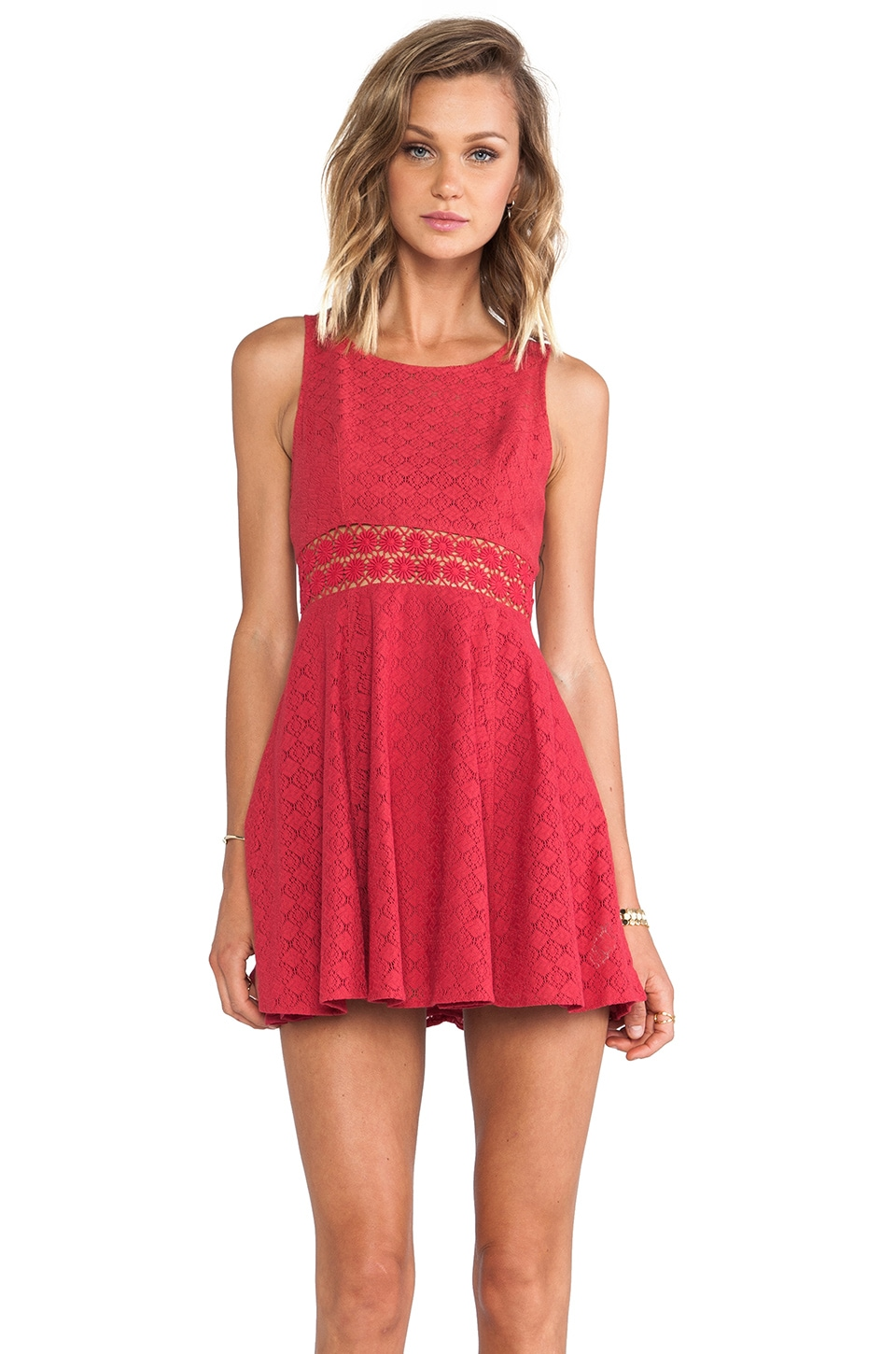 Free People Daisy Waist Dress in Tibeten Red