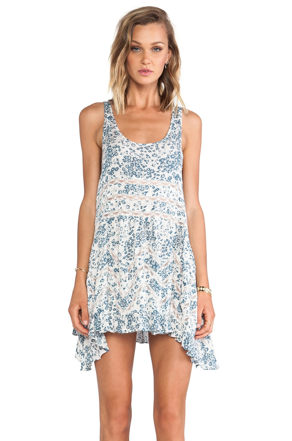 Free People Floral Trapeze Slip in Ivory Combo