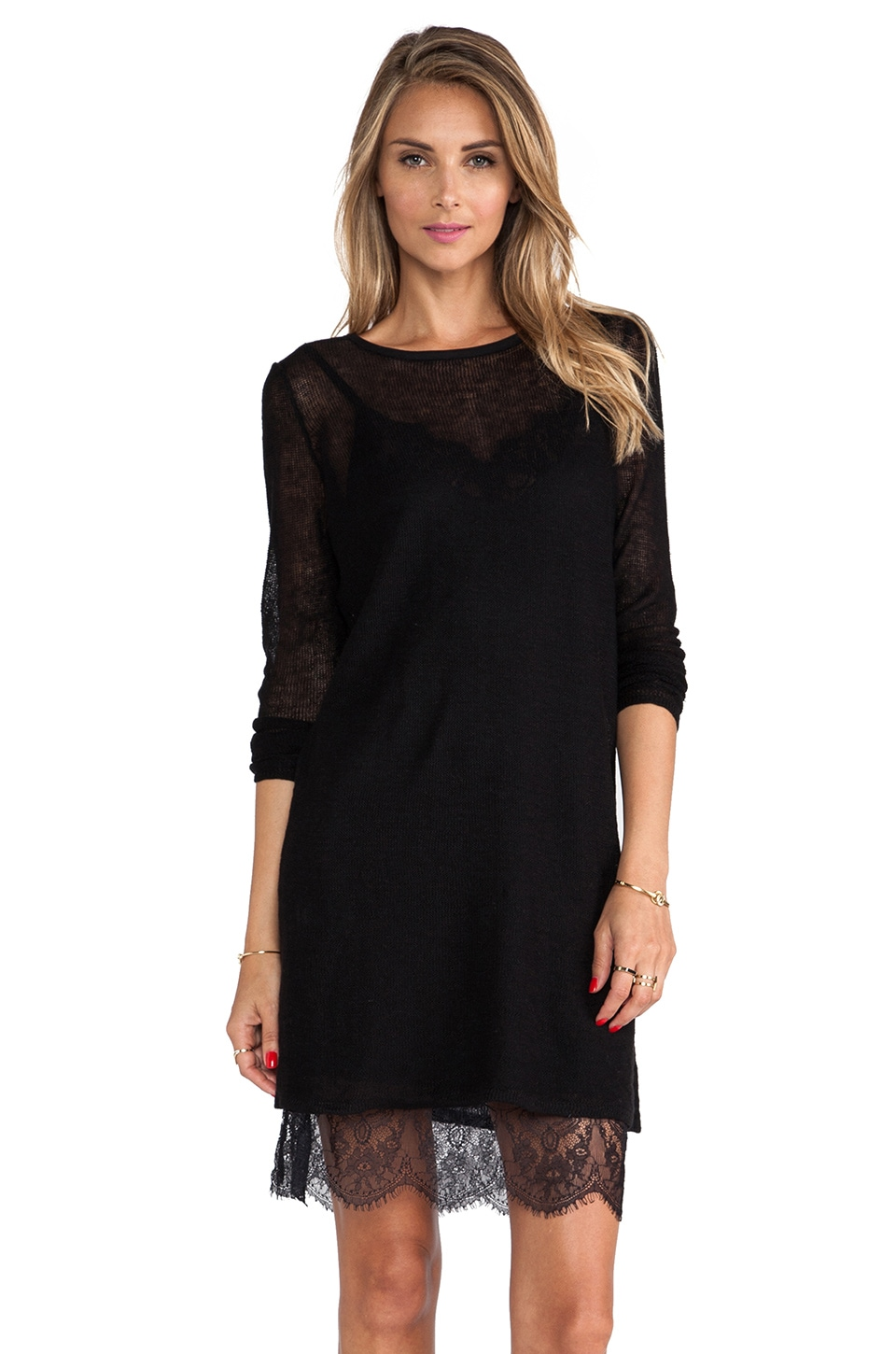 Free People Jane Eyre Twofer Sweater in Black