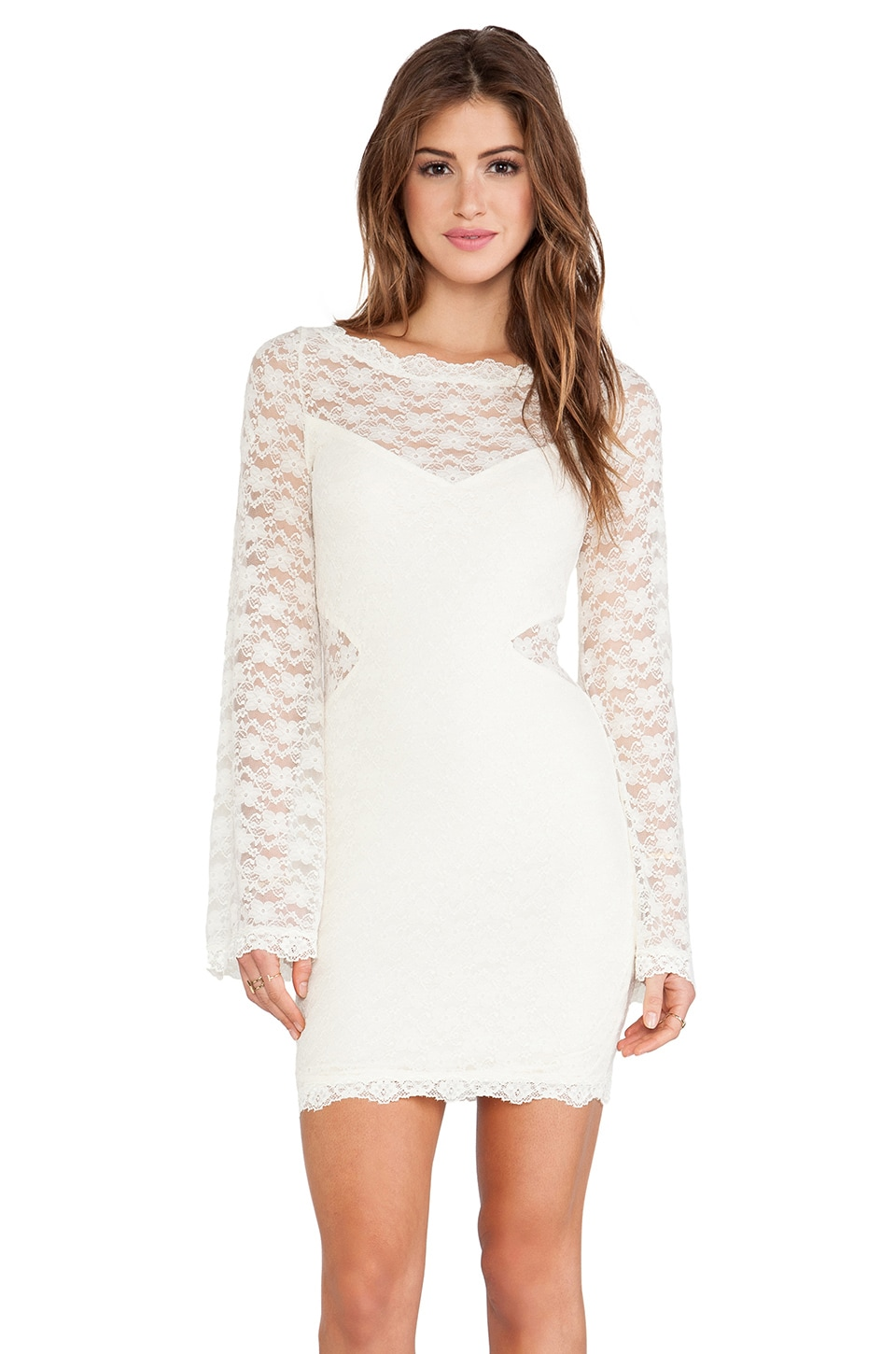 Free People Lovely In Lace Bodycon Dress in Cream