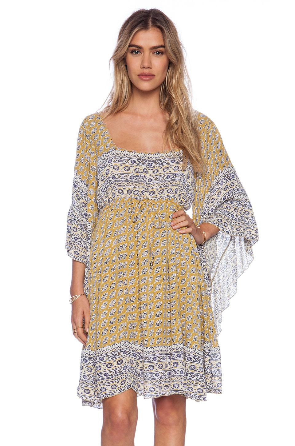 Free People Heart of Gold Mini Dress in Mustard Combo