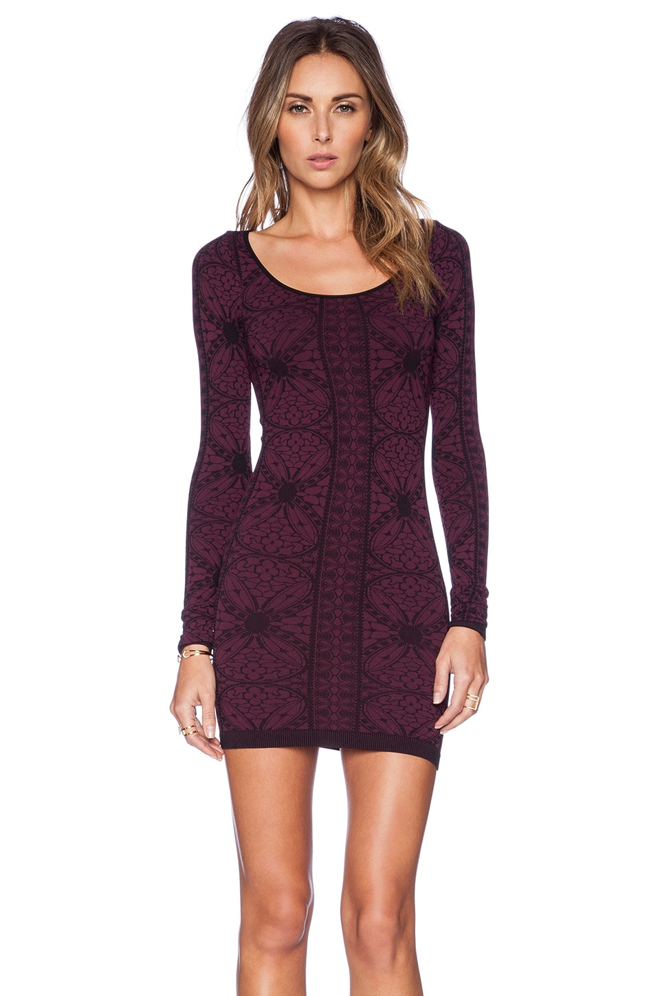 Free People Printed Long Sleeve Bodycon in Very Berry Combo | REVOLVE