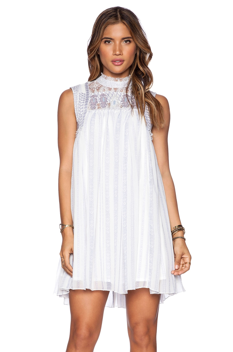 Free People Penny Georgette Babylon Dress in Ivory Combo