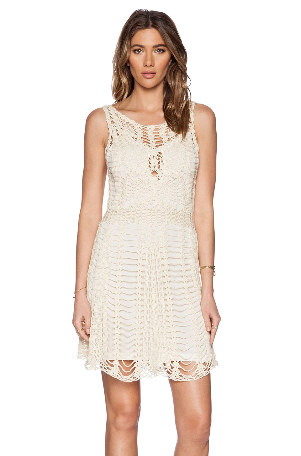 Free People Macrame Mini Dress in Ivory Combo