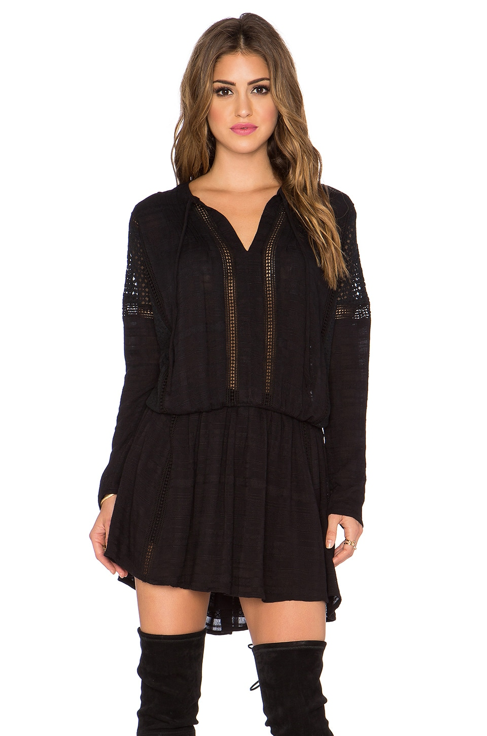 Free People Nomad Peasant Dress in Black