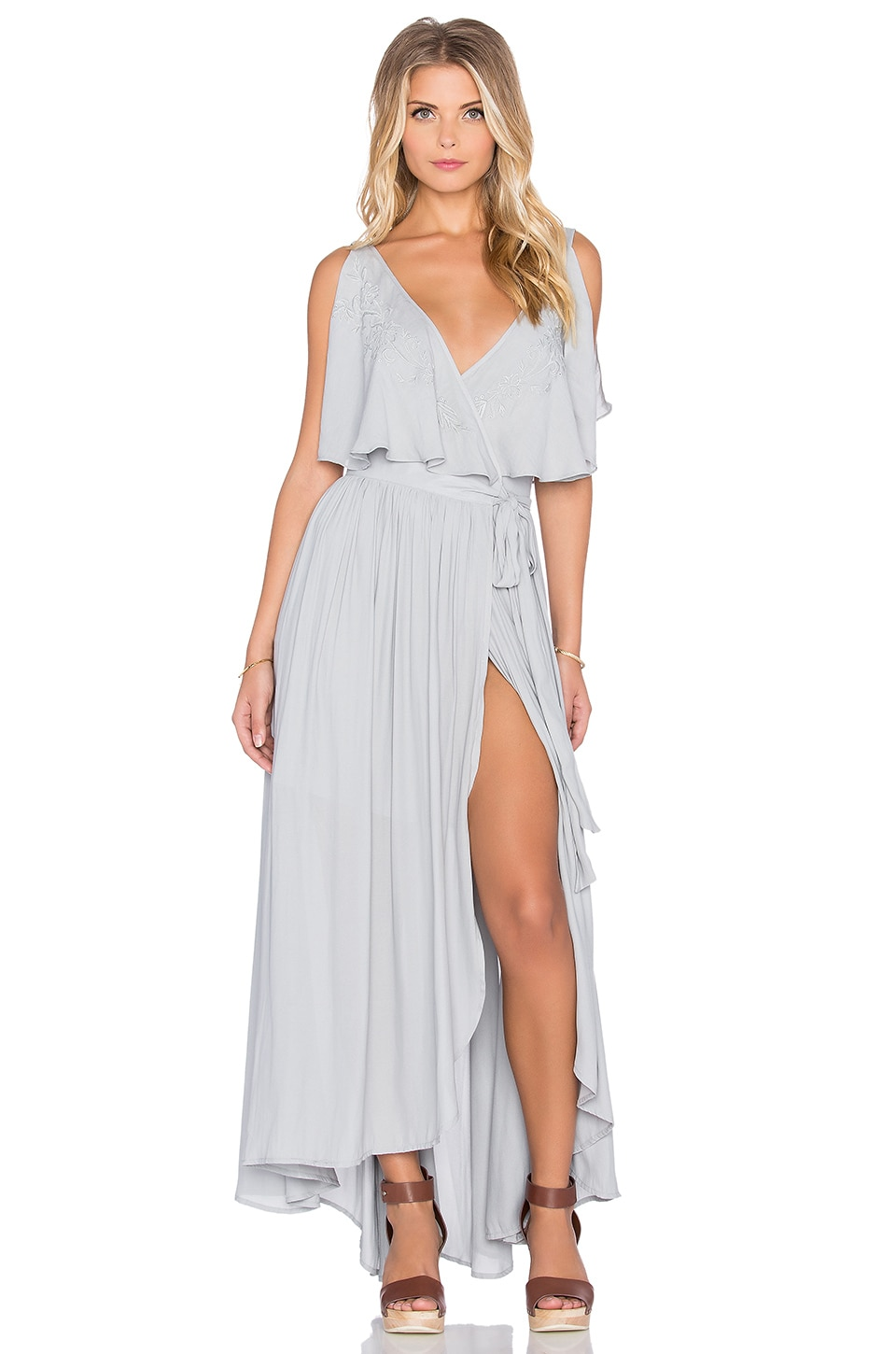 Free People Fiona's Sleeveless Maxi Dress in Rain Blue | REVOLVE