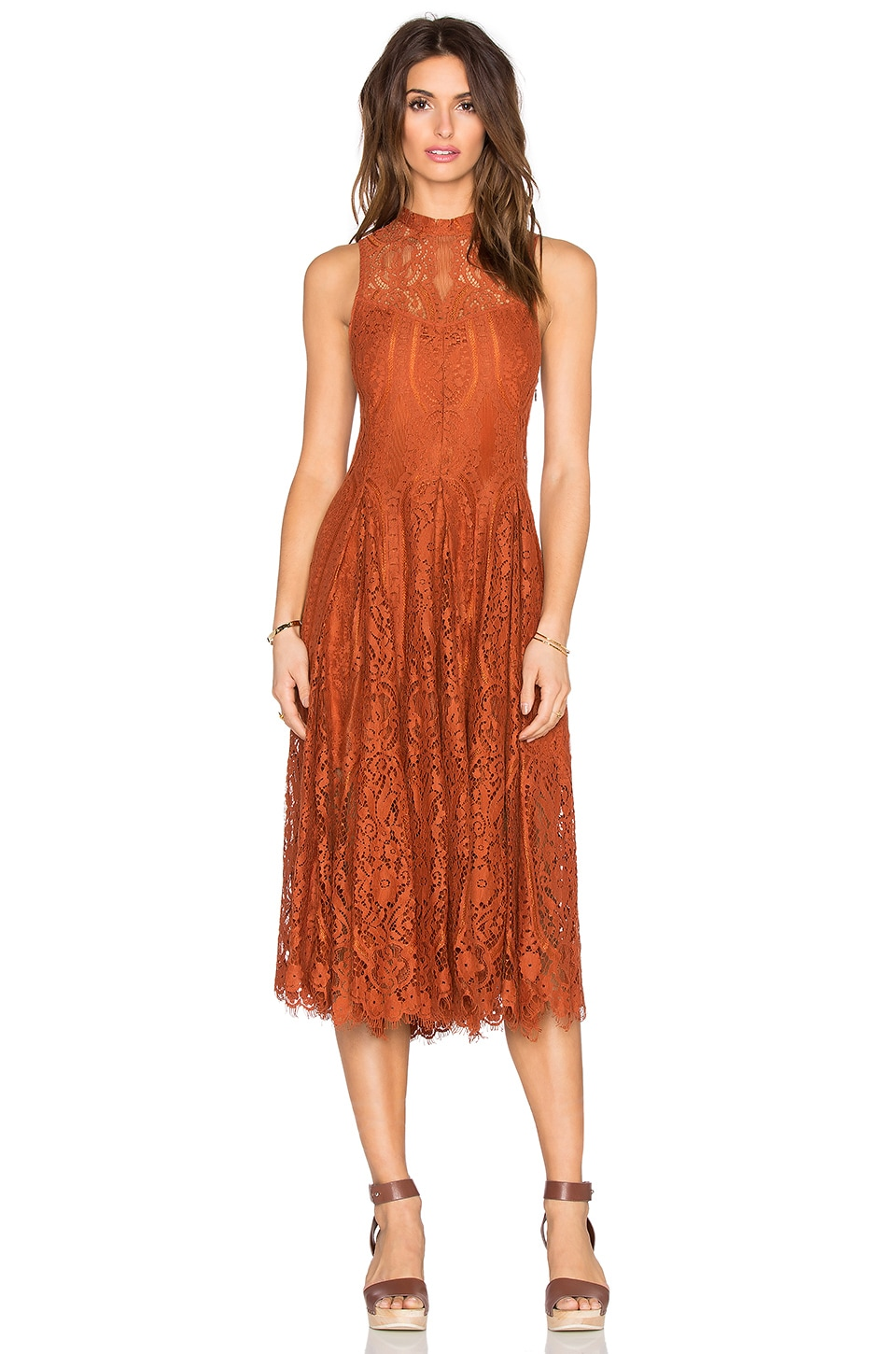Free People Lace Trapeze Midi Dress in Copper