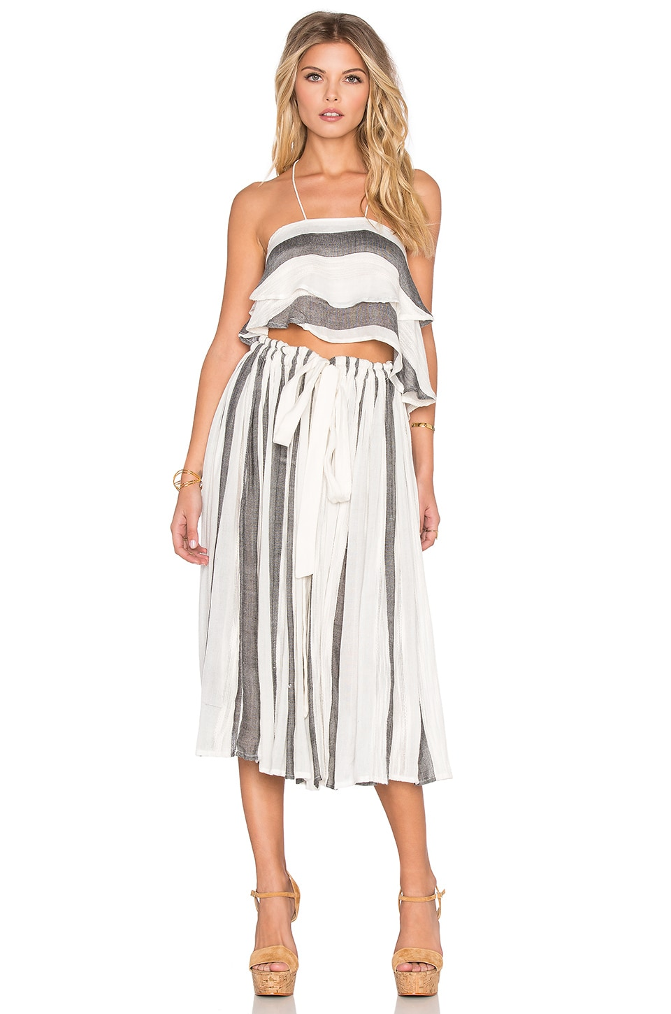 Free People Lily Stripe Set in Ivory & Black Combo