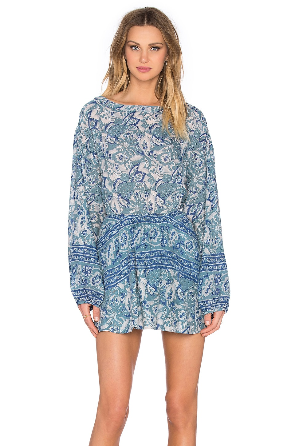 Free People Sun Printed Dress in Washed Blue | REVOLVE