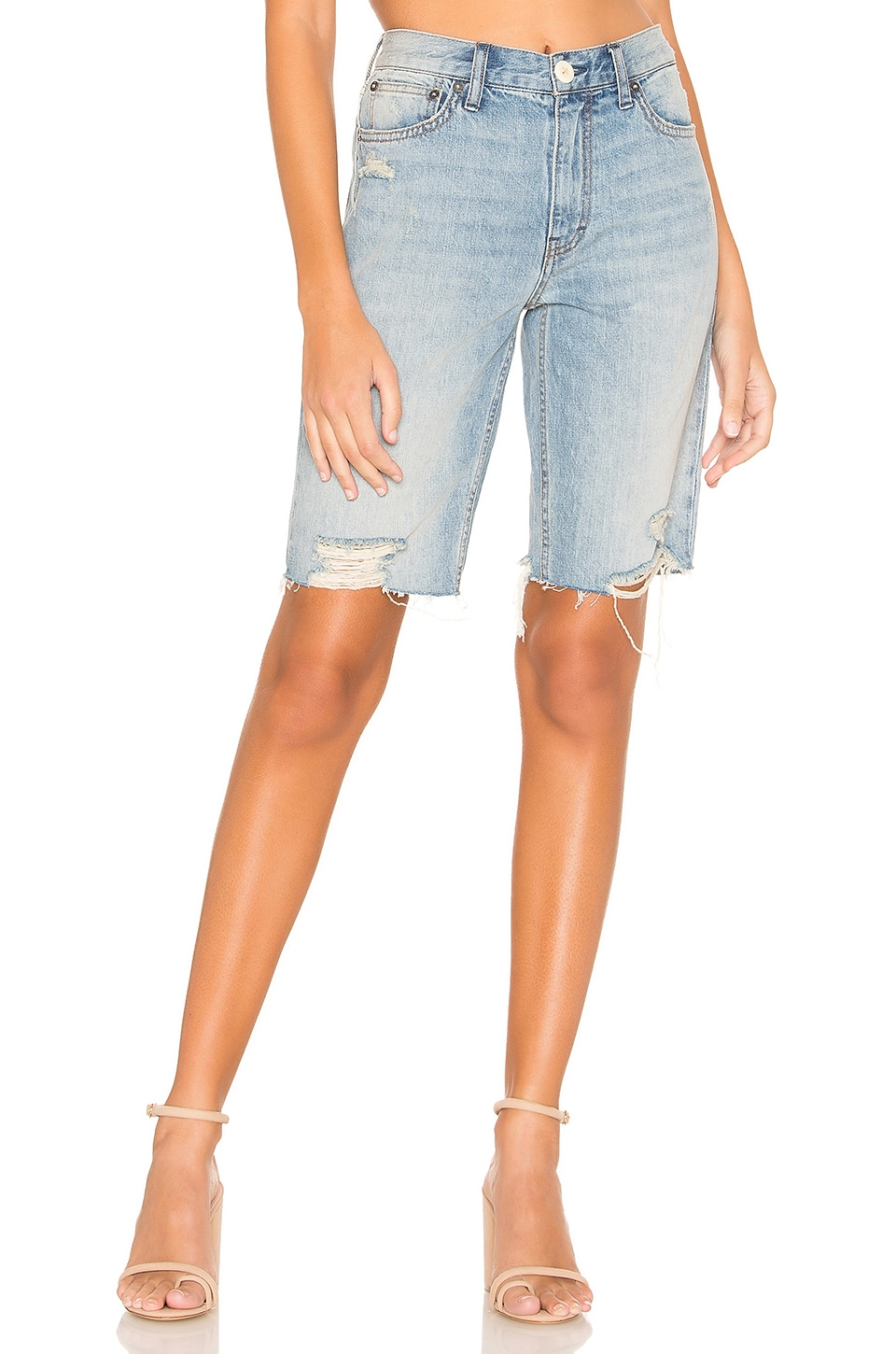 Free People Caroline Cut Off Shorts in Washed Denim