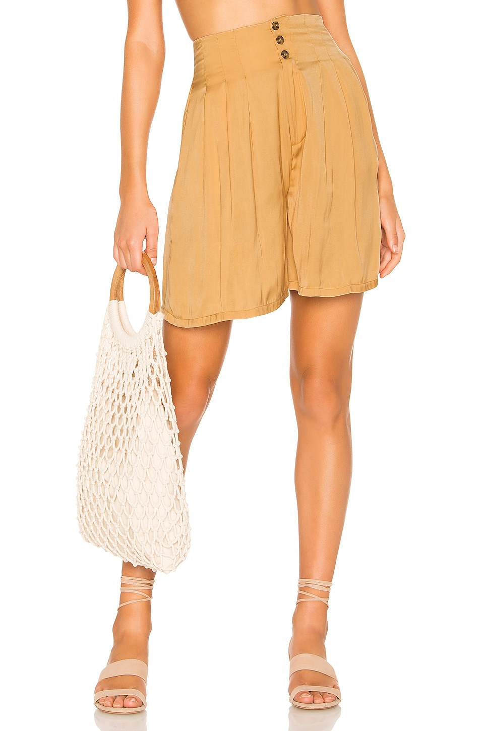 Free People Brittany Long Beach Short in Gold
