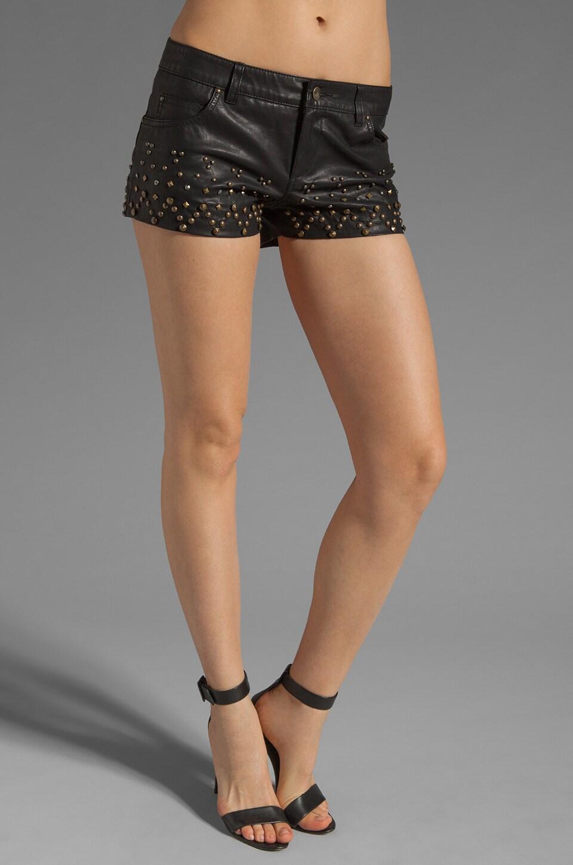 Free People Vegan Leather Studded Rocker Shorts in Black
