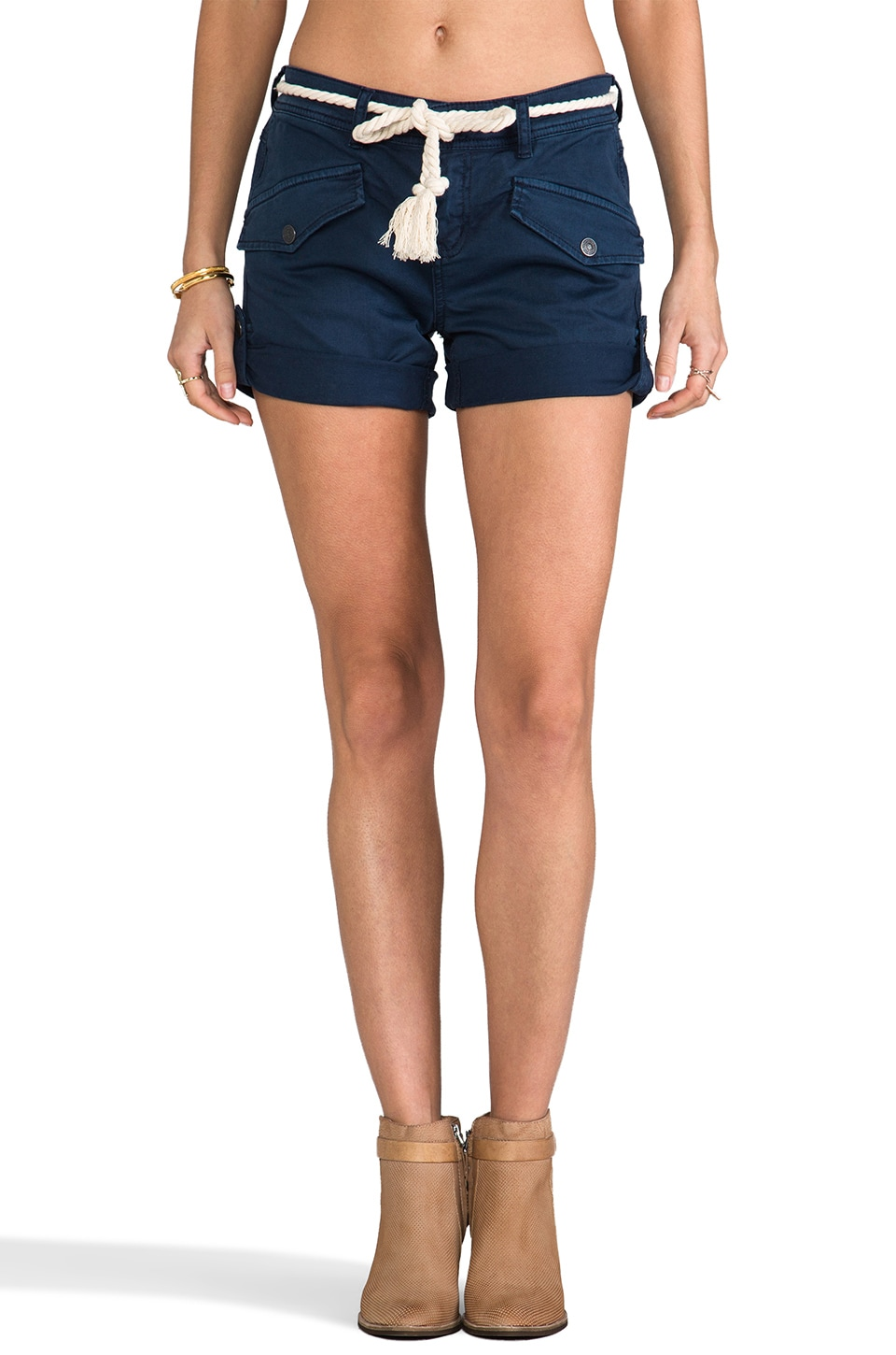 Free People Nautical Cuffed Short in Navy
