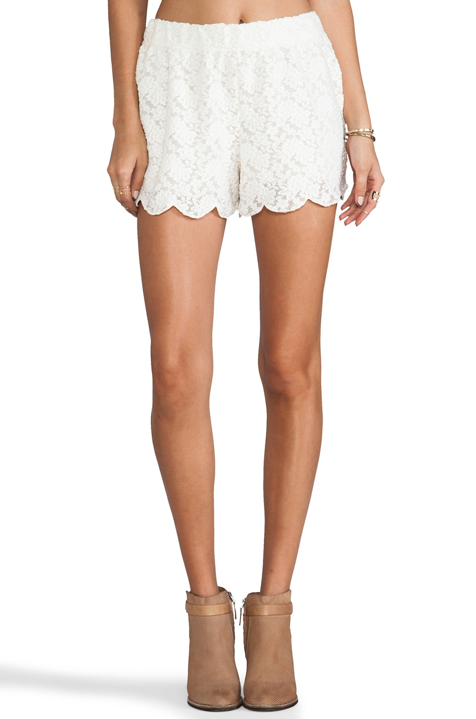 Free People Scallop Lace Short in Ivory