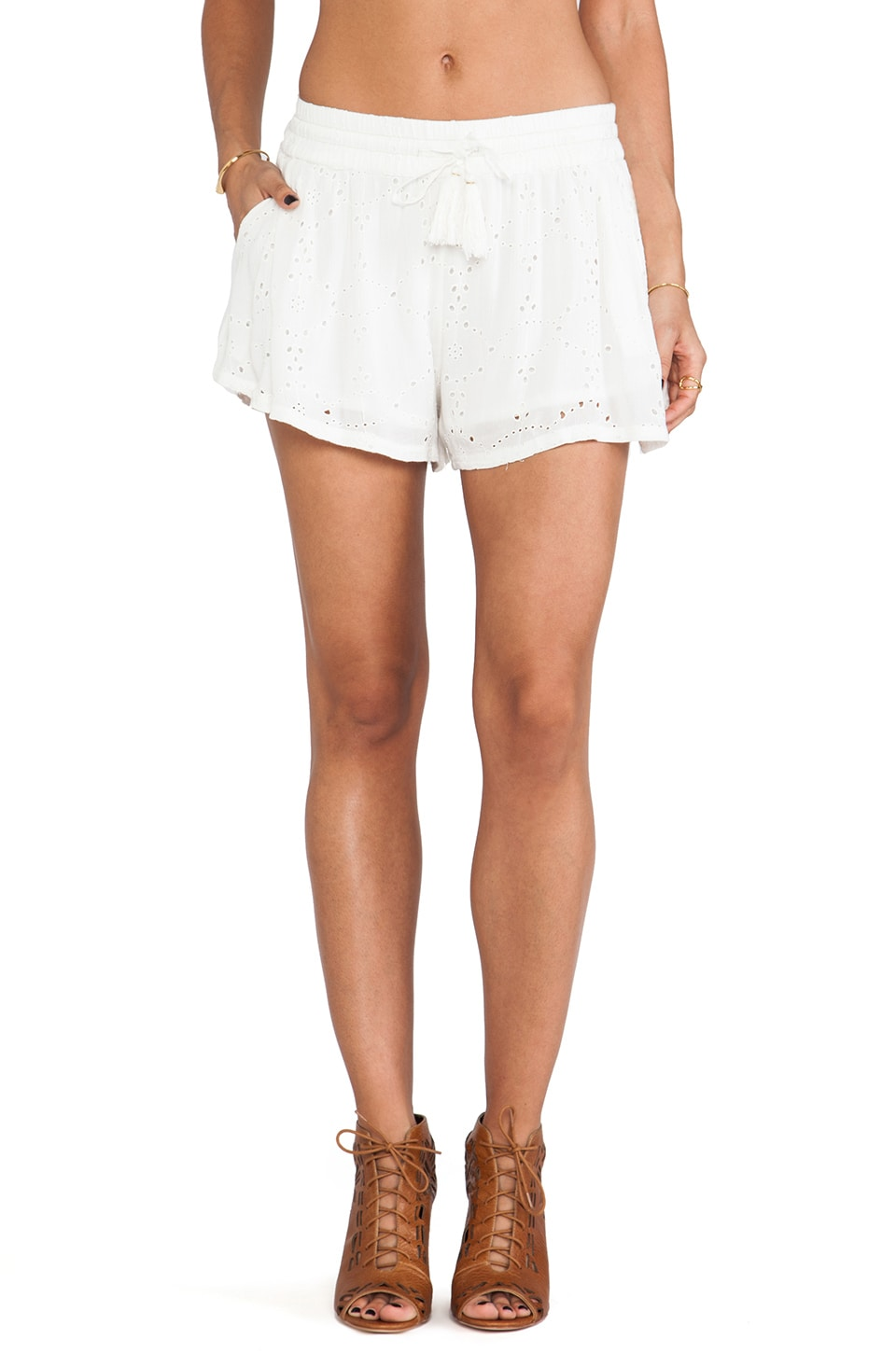 Free People Eyelet Embellished Short in Ivory