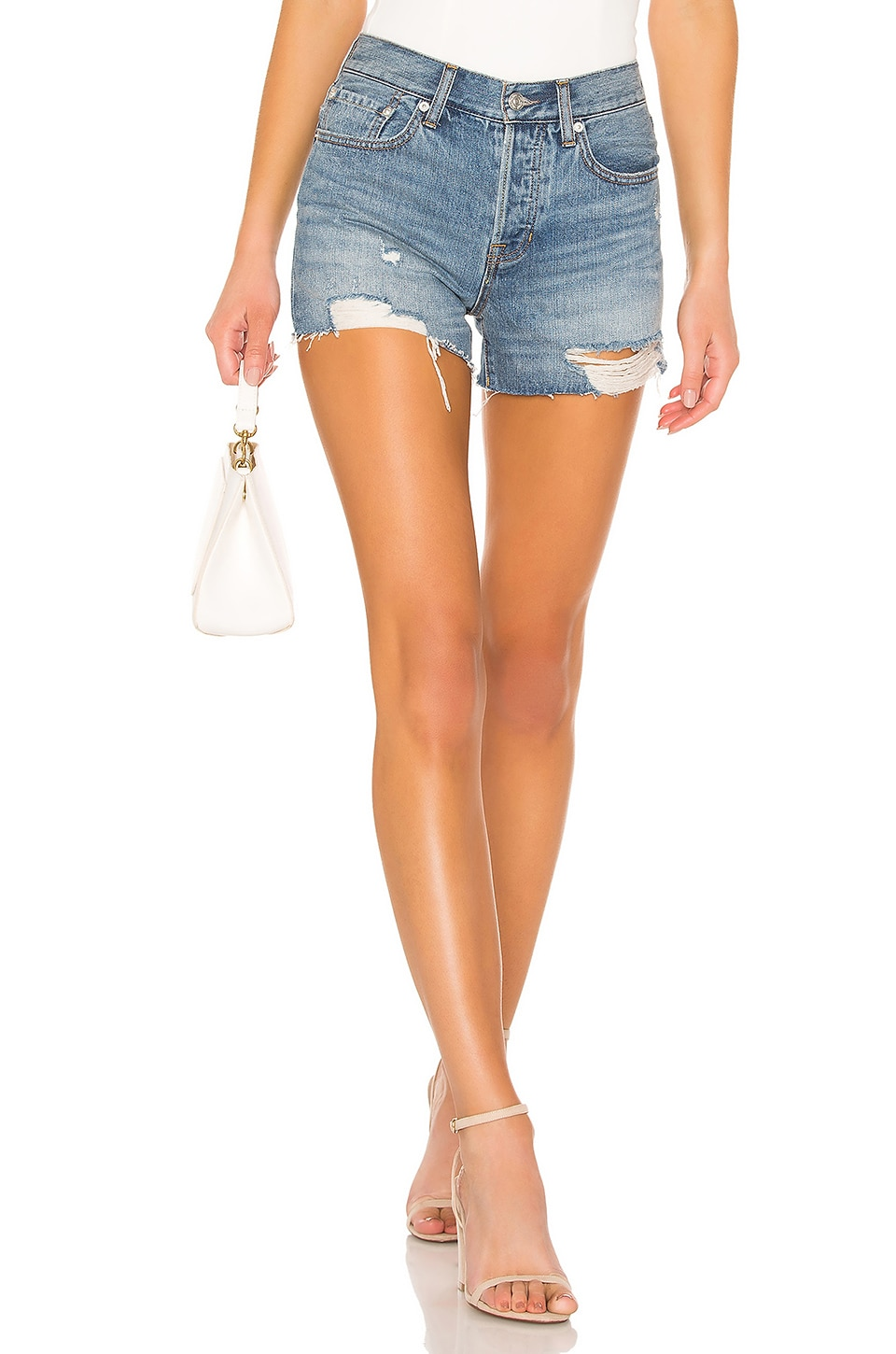 Free People Sofia Short en Washed Denim