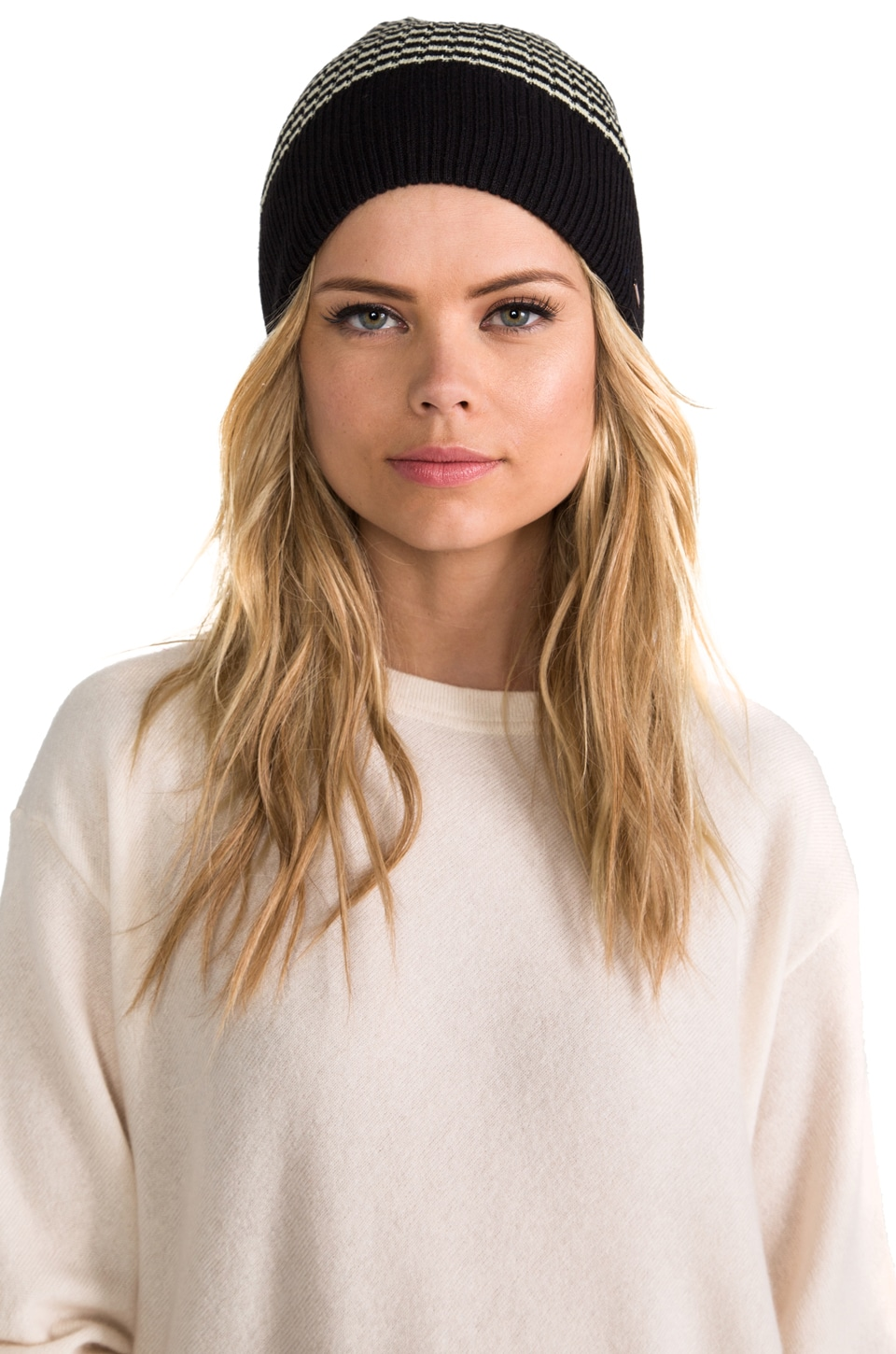Free People Stripped Sailor Beanie in Black