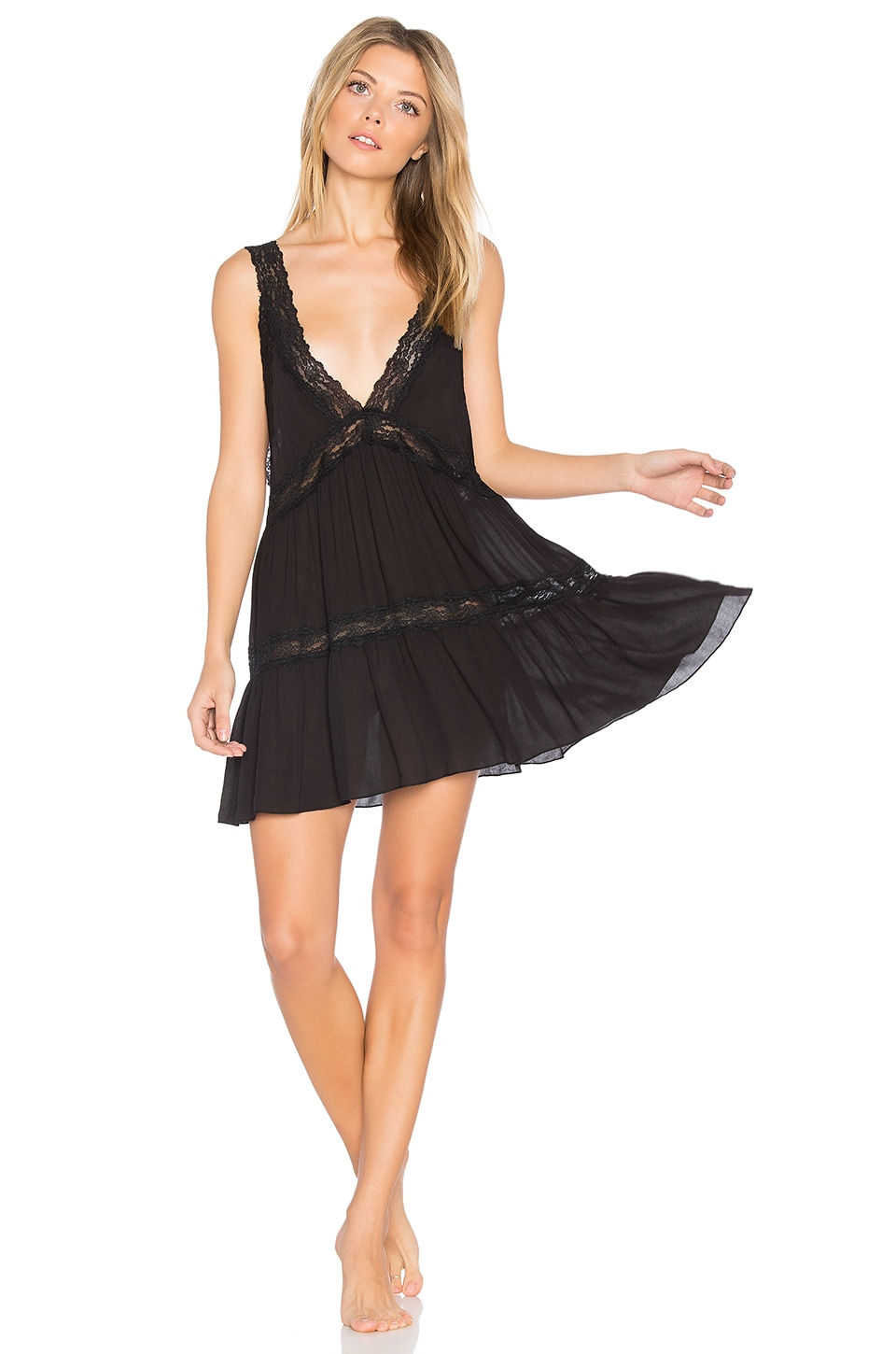 Free People Look of Love Slip in Black
