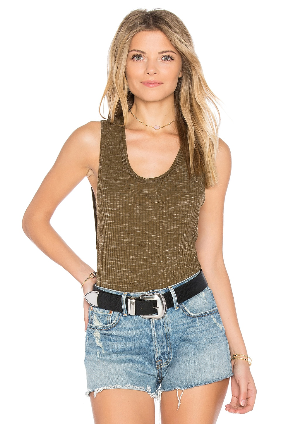 Free People Secret Sides Bodysuit in Green