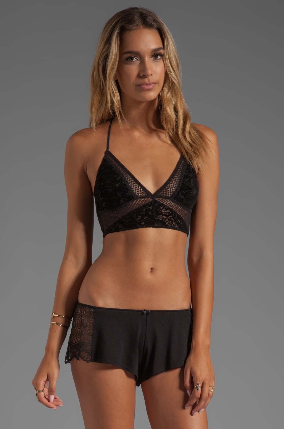 Free People Interview With A Vamp Crop Bra in Black