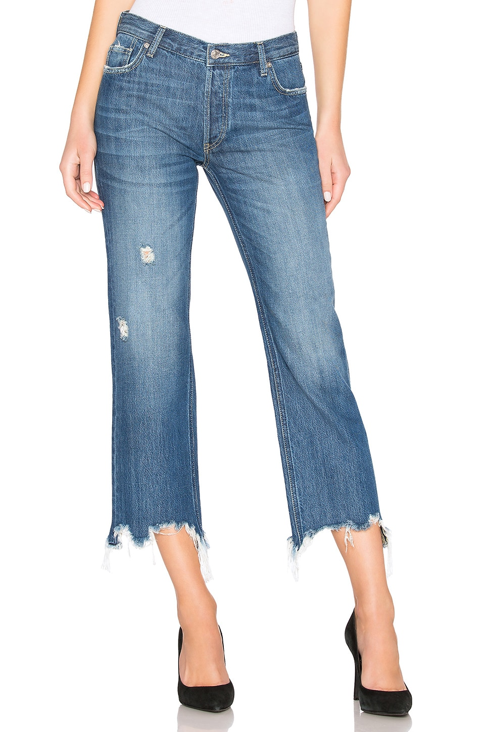 Free People Maggie Mr Straight Jean in Dark Denim