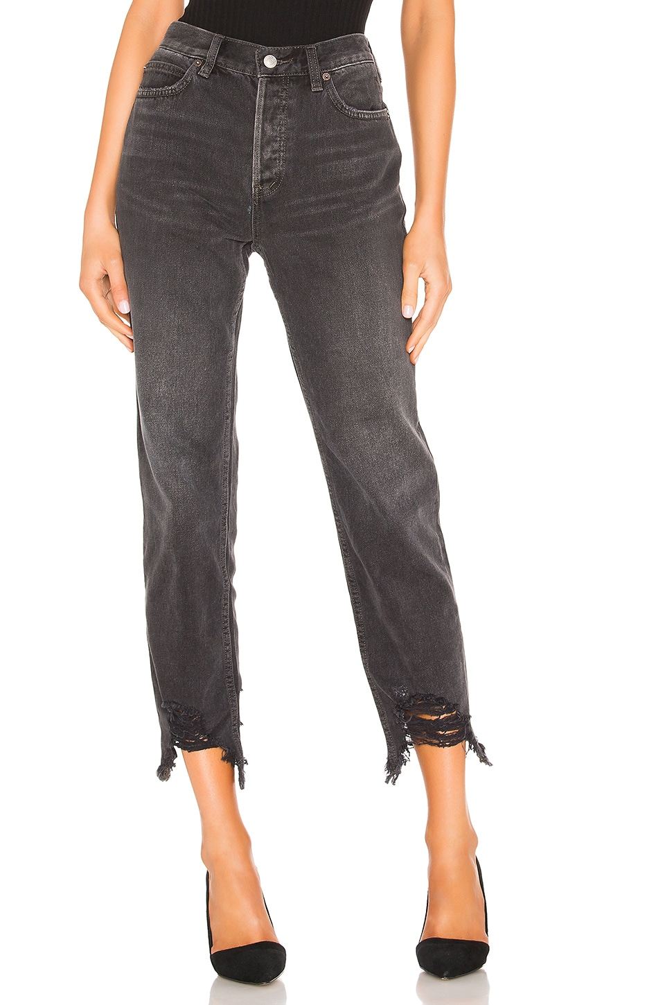 Free People Chewed Up Midrise Straight Jean en Black