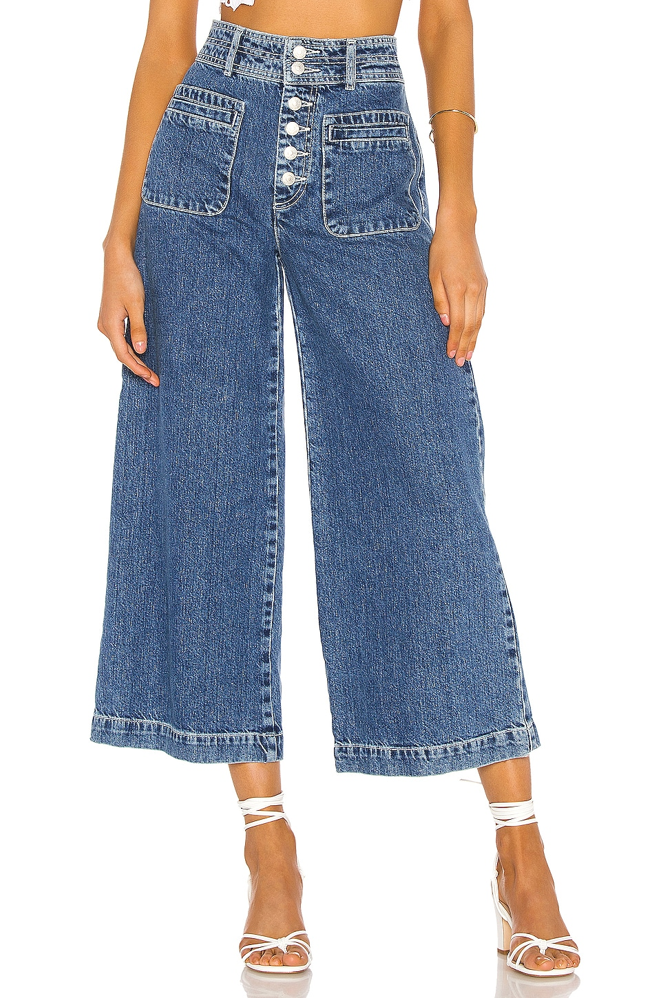 Free People Colette Wide Leg in Indigo Blue