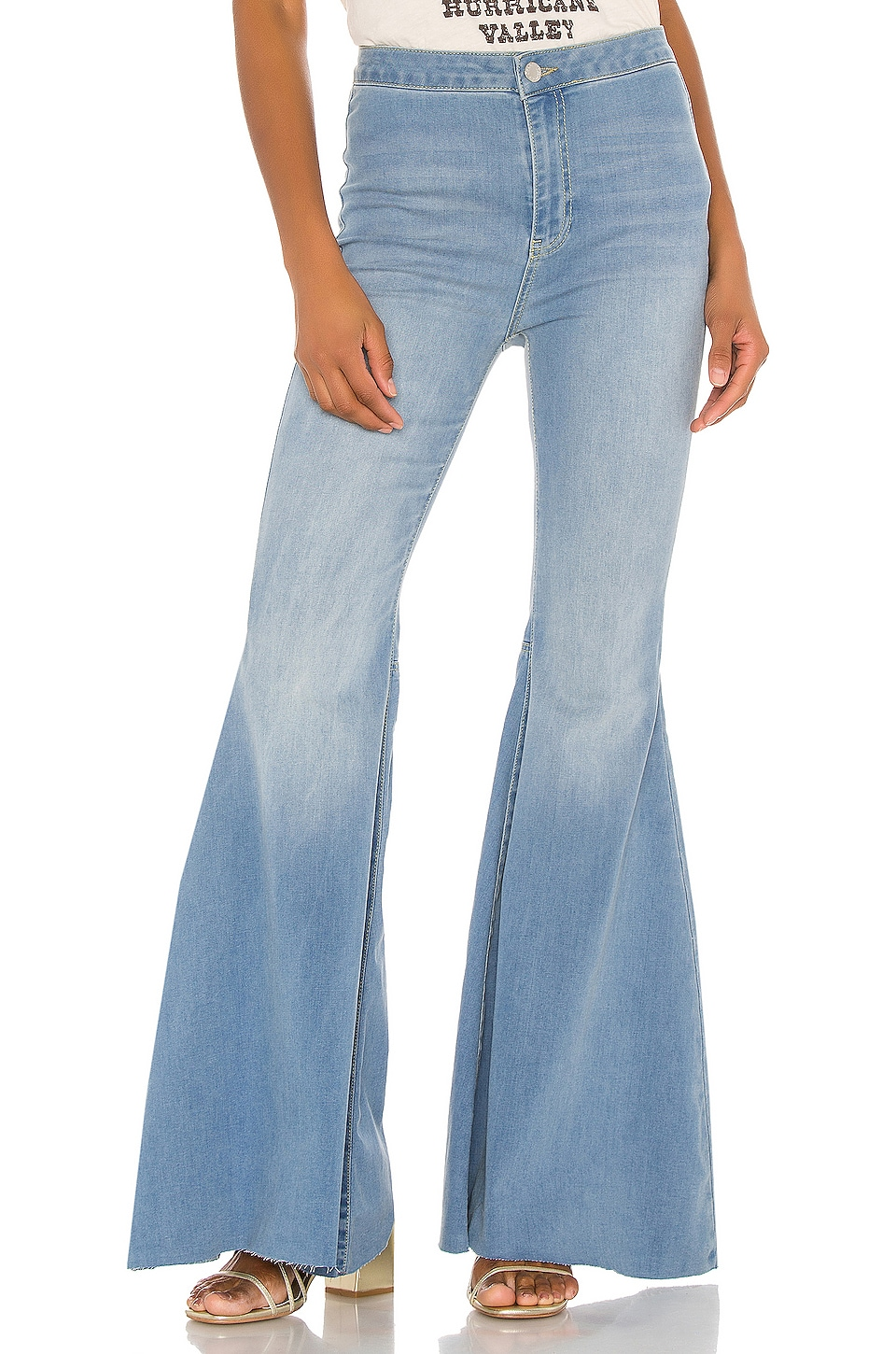 Free People Just Float On Flare Jean in Blue Combo