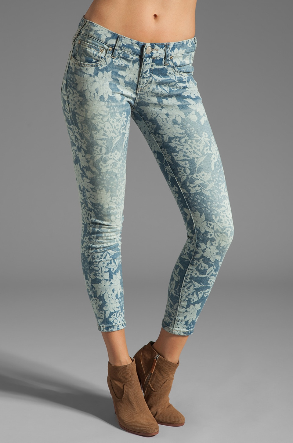 Free People Hawaiian Floral Skinny in Denim Combo