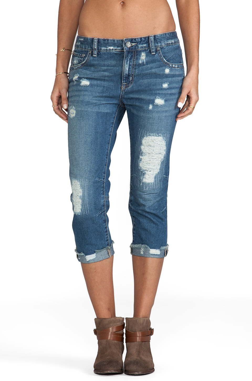 Free People Cropped Boyfriend Jean in True Blue
