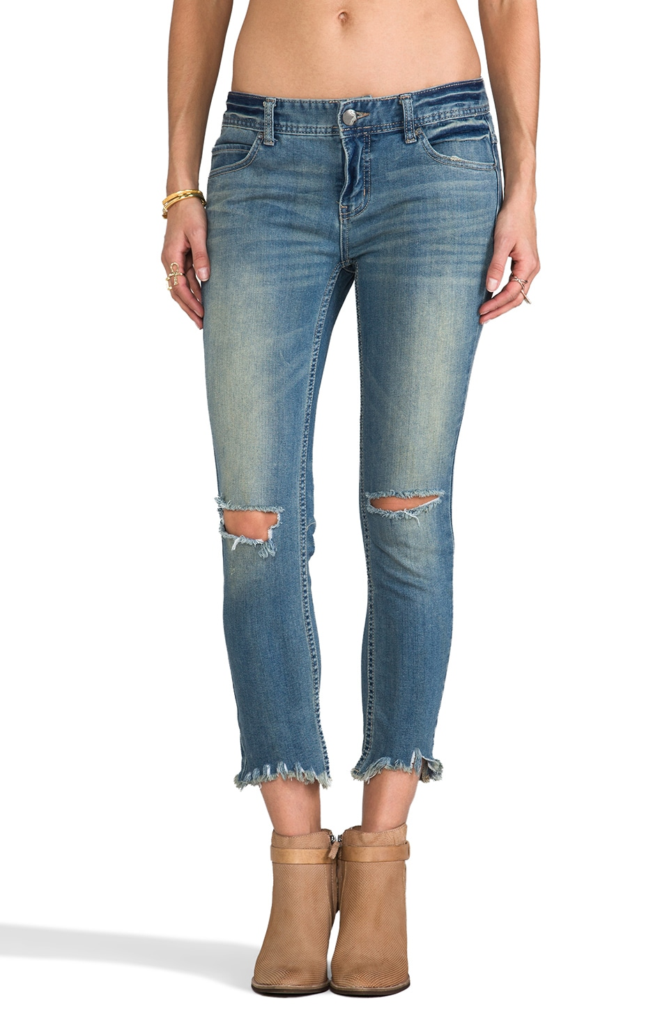 Free People Mid Rise Skinny Destroyed Ankle in Sitka Wash