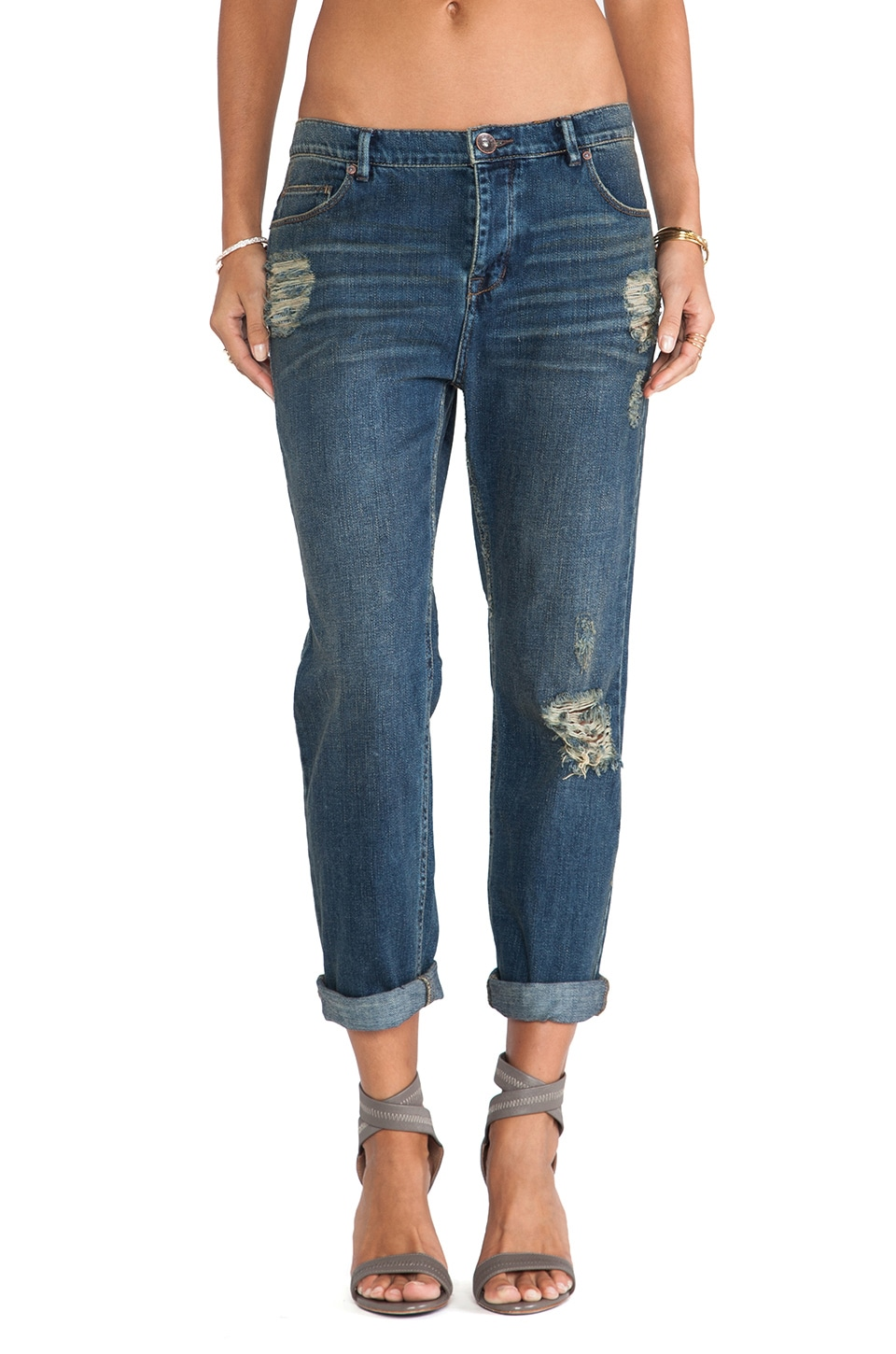 Free People Low Rise Boyfriend Jean in Lotus