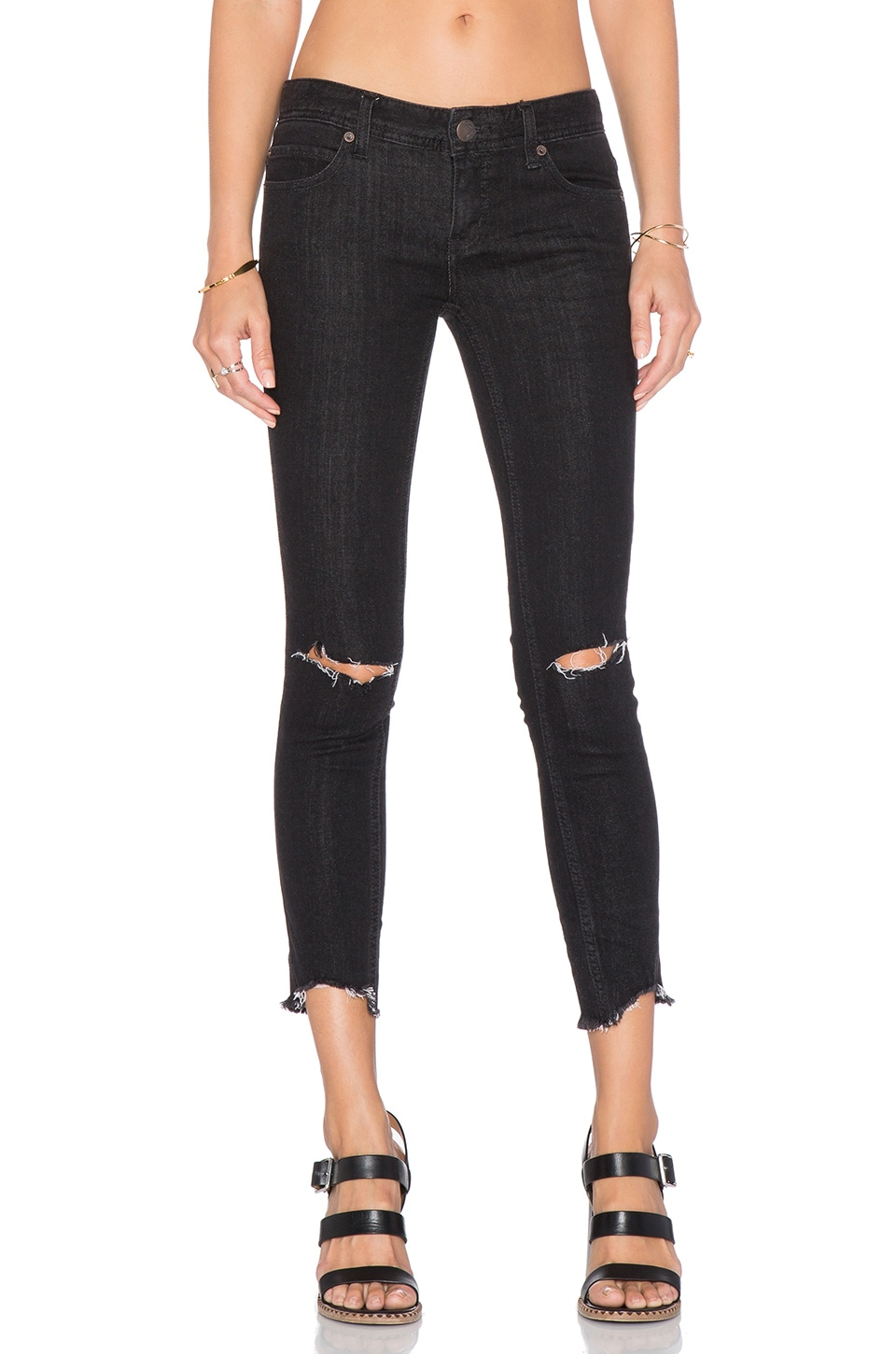 Free People Mid Rise Skinny Destroyed Ankle Jean in Black