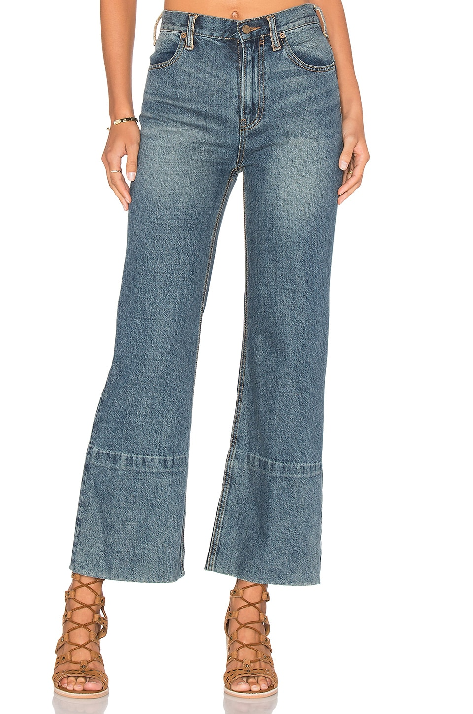Free People Hopkin Hi Rise Wide leg Jeans in Denim Blue