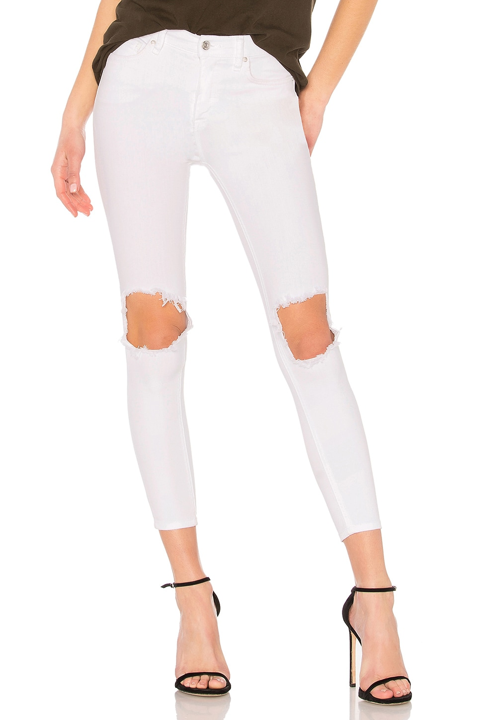 Free People High Rise Busted Skinny in White