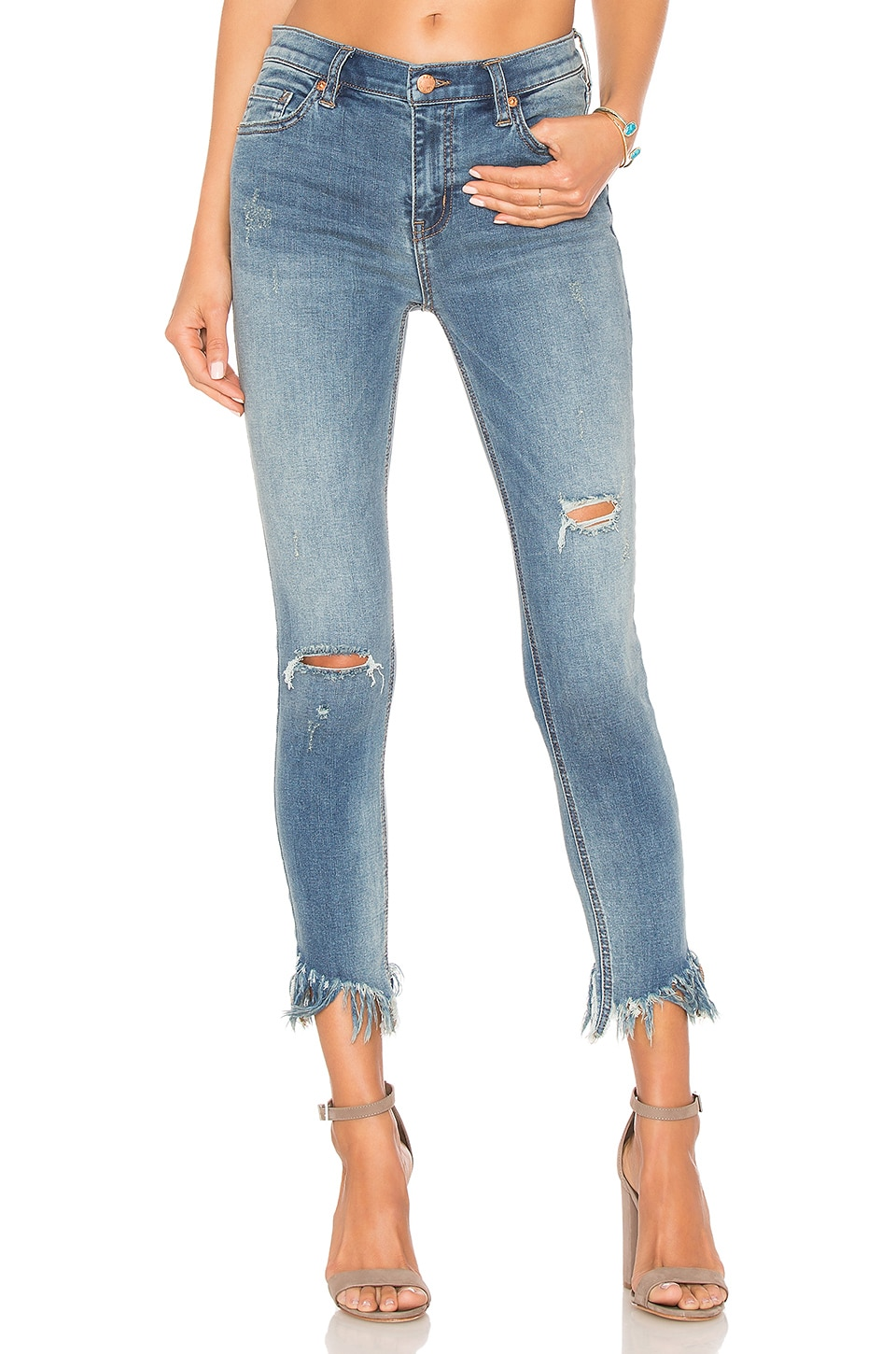 Free People Great Heights Frayed Skinny Jean in Sky